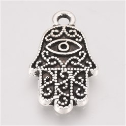 Antique Silver Tibetan Style Alloy Pendant Enamel Settings, Hamsa Hand/Hand of Fatima /Hand of Miriam with Eye, Lead Free, Antique Silver, 20x11.5x2mm, Hole: 1.5mm; about 740pcs/1000g