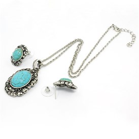 Alloy Turquoise Oval Ear Studs and Necklaces Sets, with Iron Chains and Lobster Clasps, 39x24x9mm; Pin: 0.8mm, 16.5""