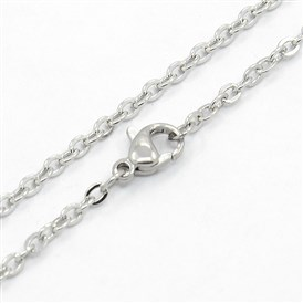 Unisex Classic Plain 304 Stainless Steel Mens Womens Necklaces, Cable Chain Necklaces, with Lobster Claw Clasps