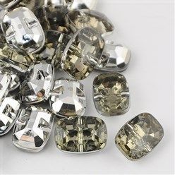 LightGrey Taiwan Acrylic Rhinestone Buttons, Faceted, 1-Hole, Rectangle, LightGrey, 30x21x10.5mm, Hole: 2mm