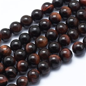 Natural Tiger Eye Bead Strands, Dyed & Heated, Round, Grade AB+