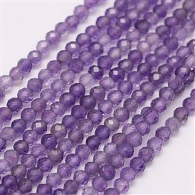 Natural Amethyst Beads Strands, Round, Grade A, Faceted