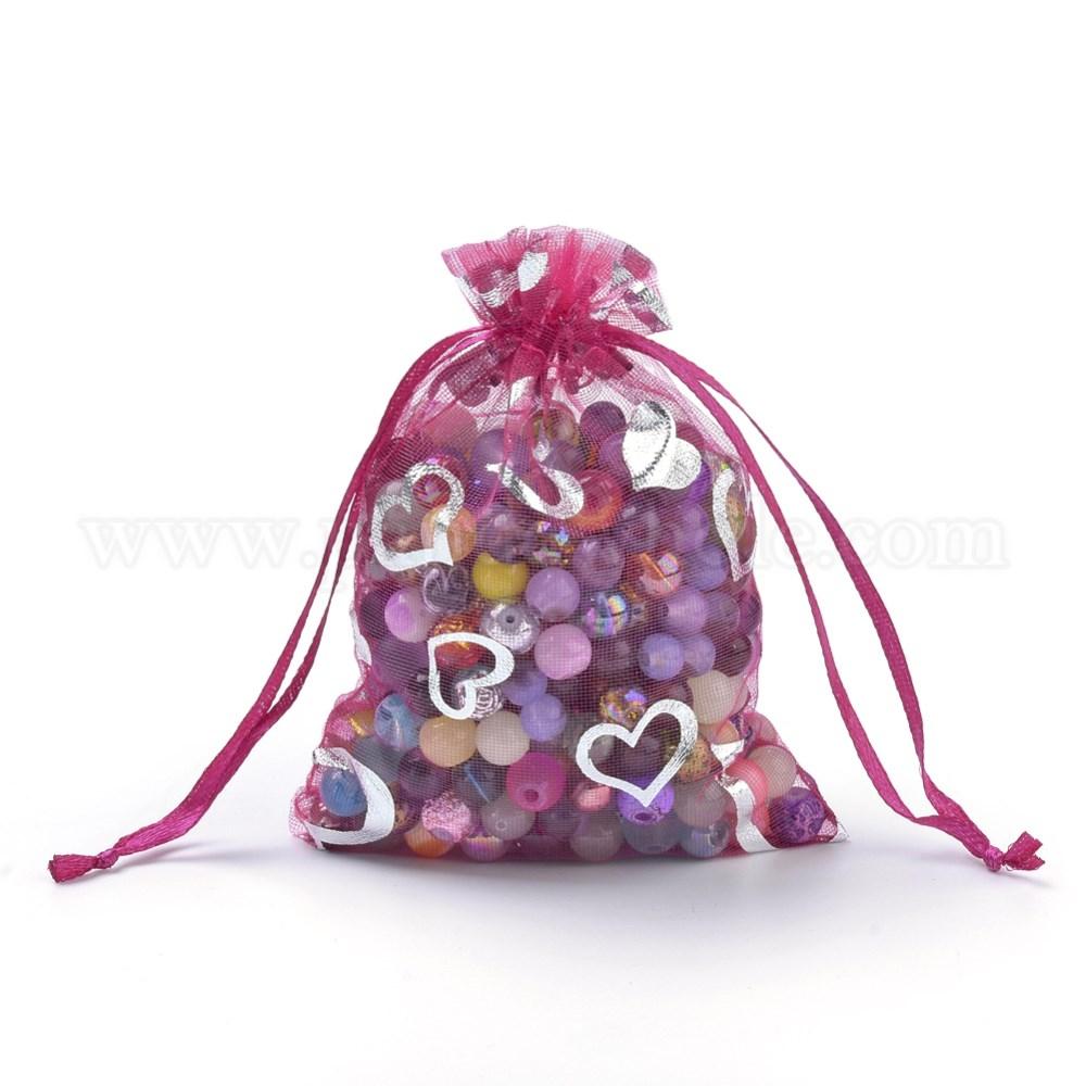 Organza Gift Bags, Silver Hearts Printed, with Drawstring (00PSY6)