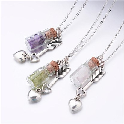 Glass Bottle Pendant Necklaces, with Gemstone Chip Beads, Alloy Pendants and Brass Chains-1