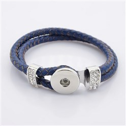 DarkBlue Leather Cord Snap Bracelet Making, with Environmental Zinc Alloy Grade A Rhinestones Snap Leather Cord Clasps and Snaps, Platinum, DarkBlue, 230x11mm; Fit Snap Buttons in 6mm Knob