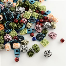Mixed Antique Style Acrylic Beads/Pendants, 7~25x7~20x4~13mm, Hole: 1~4mm