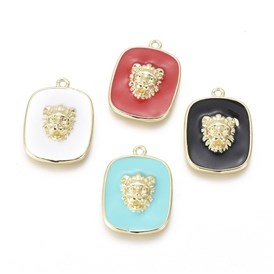 Golden Plated Brass Enamel Pendants, Rectangle with Lion Head