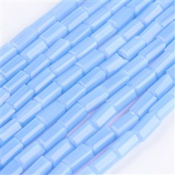 "LightBlue Opaque Glass Beads Strands, Faceted, Cuboid, LightBlue, 4~5x2~2.5x2~2.5mm, Hole: 0.5mm; about 100pcs/strand, 17.5~19""(44.5~48.5cm)"