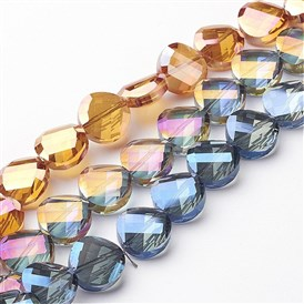 Electroplate Glass Beads Strands, Rainbow Plated, Faceted, Twist