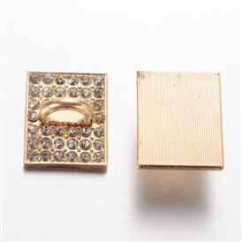 Rectangle Alloy Rhinestone Clasps, 28x22x3mm, Hole: 10x7mm