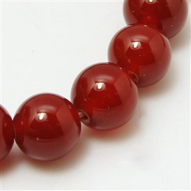 Natural Red Agate Beads Strands, Dyed, Grade A, Round
