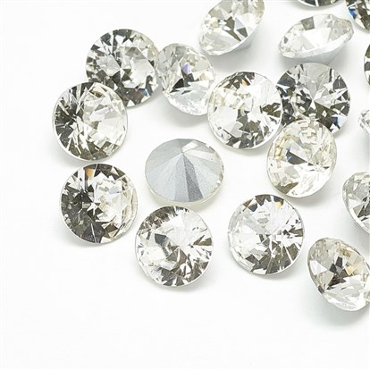 Pointed Back Glass Rhinestone Cabochons, Back Plated, Faceted, Diamond-1
