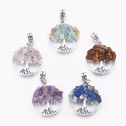 Alloy European Dangle Beads, with Natural Gemstone Chips, Flat Round with Tree, Antique Silver-1