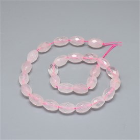 Natural Rose Quartz Beads Strands, Faceted, Oval
