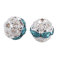Aquamarine Brass Rhinestone Beads, Grade A, Silver Metal Color, Round, Aquamarine, 8mm, Hole: 1mm; 20pcs/box
