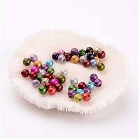 Spray Painted Acrylic Beads, Miracle Beads, Bead in Bead, Round, 6mm, Hole: 1.5mm