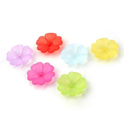 Transprent Acrylic Beads, Frosted, Flower-1