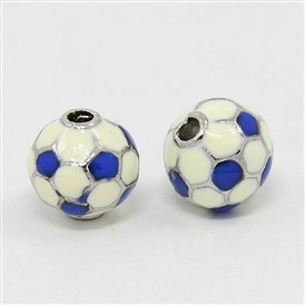 Alloy Enamel Beads, FootBall/Soccer Ball, Platinum Metal Color, 10mm in diameter, Hole: 2mm