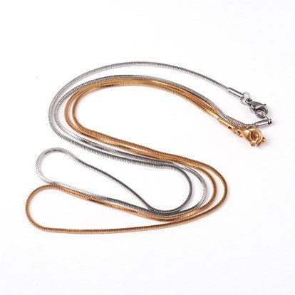 "304 Stainless Steel Square Snake Chains Necklaces, with Lobster Clasps, 19.69""(50cm)-1"