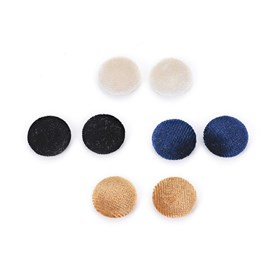 Velvet Cloth Fabric Covered Cabochons, with Aluminum Bottom, Half Round/Dome