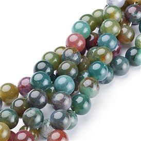 Natural Gemstone Beads Strands, Indian Agate, Round