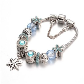Alloy Rhinestone Bead European Bracelets, with Glass Beads and Brass Chain, 180mm