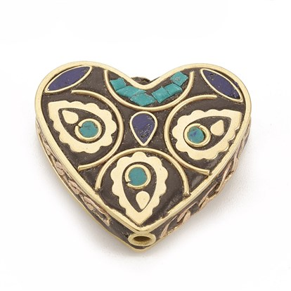 Handmade Indonesia Beads, with Unplated Brass Findings, Heart-1