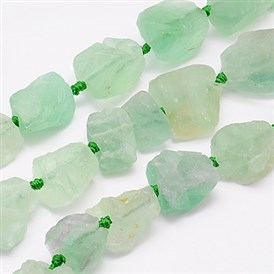 Natural Green Fluorite Beads Strands, Nuggets, 18~35x15~26x9~21mm, Hole: 1mm