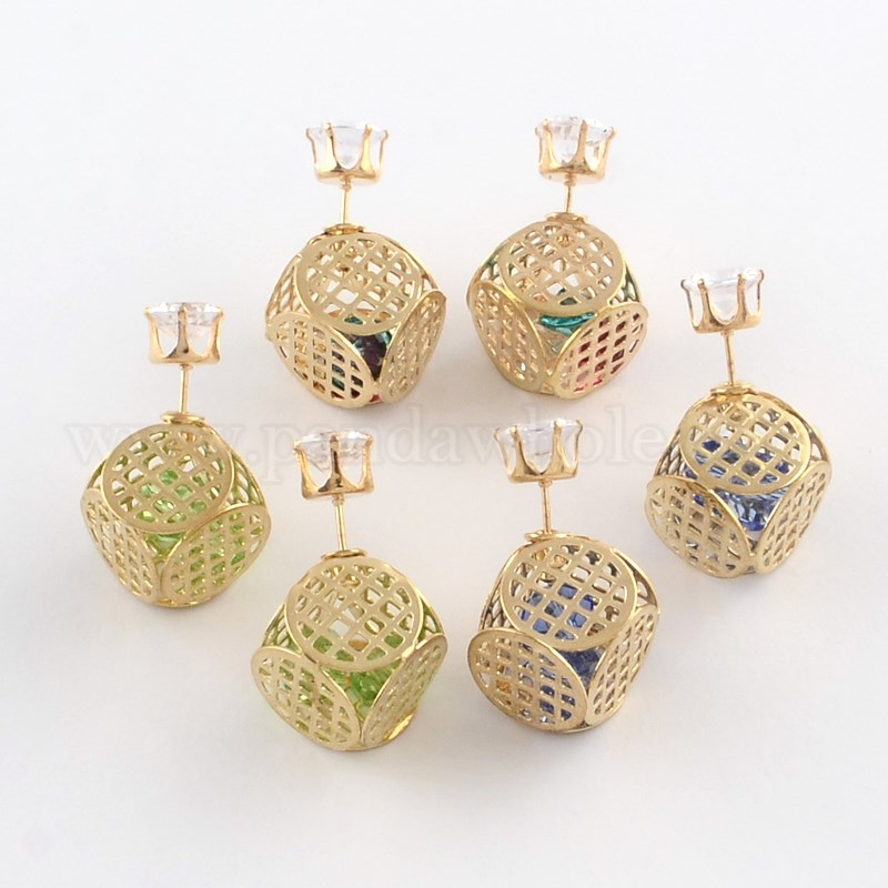 570e38aa5 Double Sided Faceted Ball Stud Earrings, with Glass Cabochon in Golden  Plated Hollow Cube Iron Cage, and Iron Pins, 14x14x13.5mm; Pin: 1mm (00FAFC)