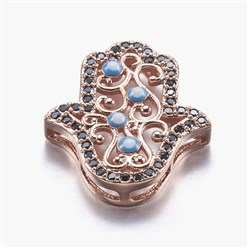 Real Rose Gold Plated Long-Lasting Plated Brass Micro Pave Cubic Zirconia Pendants, Multi-strand Links, Hamsa Hand/Hand of Fatima/Hand of Miriam with Eye, Real Rose Gold Plated, 19x16x4mm, Hole: 1x2~5mm
