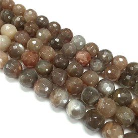 Natural Sunstone Beads Strands, Grade AB, Faceted, Round