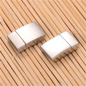 304 Stainless Steel Rectangle Magnetic Clasps, 20x12x5mm, Hole: 2.5x10mm
