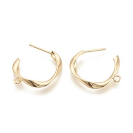 Brass Ear Stud Components, Twisted