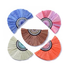 Raffia Decoration Accessories, with Cotton, Fan Shaped