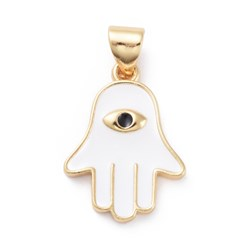 White Enamel Pendants, with Brass Findings, Hamsa Hand/Hand of Fatima/Hand of Miriam with Eye, Golden, White, 18.5x13.5x2mm, Hole: 3x5mm