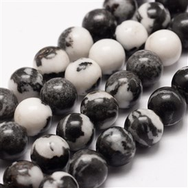 Natural Zebra Jasper Beads Strands, Round