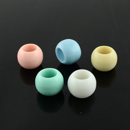 Opaque Acrylic Beads, Large Hole Plastic Rondelle Beads-1