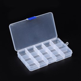 Plastic Bead Storage Containers, Adjustable Dividers Box, 10.5x18x2.2cm