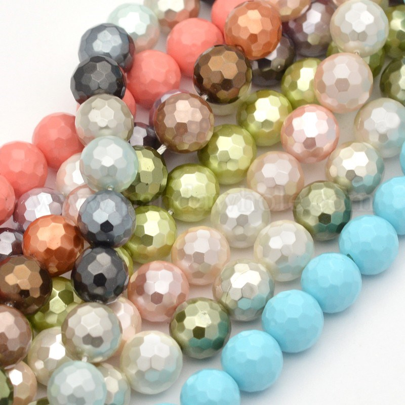 wholesale shell pearl bead strands faceted dyed in