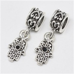 Jet Alloy European Dangle Beads, with Rhinestones, Large Hole Pendants, Long-Lasting Plated, Hamsa Hand/Hand of Fatima/Hand of Miriam with Eye, Antique Silver, Jet, 25mm, Hole: 4.5mm; Hamsa Hand/Hand of Fatima/Hand of Miriam with Eye: 15x8x3mm