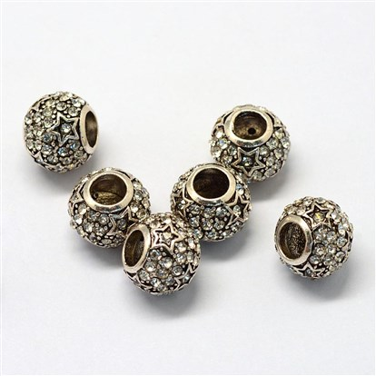 Alloy Glass Rhinestone European Beads, Large Hole Beads, Rondelle with Star, Antique Silver-1