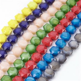 Electroplate Glass Bead Strands, Dyed, Faceted, Polygon