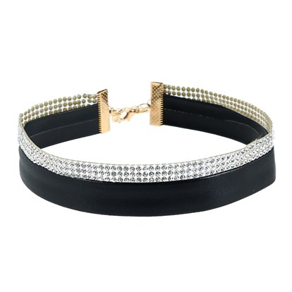 Imitation Leather Choker Necklaces, with Alloy and Rhinestone, Golden-1