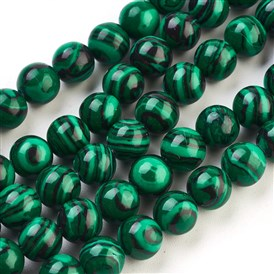 Synthetic Malachite Beads Strands, Dyed, Round, 8mm, Hole: 1.5mm
