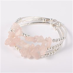 Rose Quartz Gemstone Chip Bead Cuff Bracelets, with Brass Tube Beads and Iron Round Beads, Silver, Rose Quartz, 50x55mm