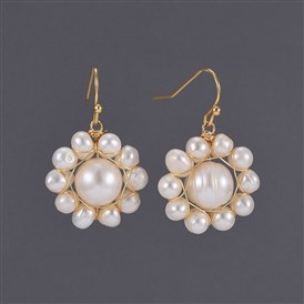 Brass Dangle Earrings, with Pearl Beads and  Natural Freshwater Pearl Beads, Cardboard Boxes
