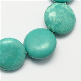 Flat Round Gemstone Synthetic Turquoise Beads Strands, 16x5mm, Hole: 1mm; about 25pcs/strand, 16.5 inches