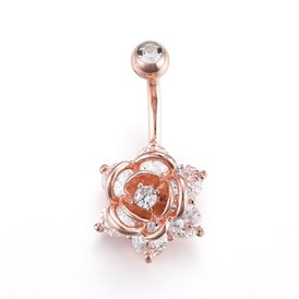 Piercing Jewelry, Brass Cubic Zirciona Navel Ring, Belly Rings, with Stainless Steel Findings, Rose