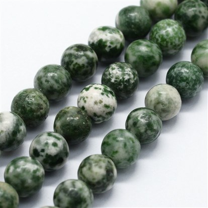Natural Green Spot Stone Beads Strands, Round