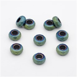 Green Plated Frosted Faceted Rondelle Electroplated Non-magnetic Synthetic Hematite Beads, Large Hole Beads, Green Plated, 13x6.5mm, Hole: 6mm